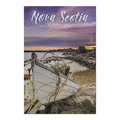 Nova Scotia, Canada - Wooden Boat on Beach (Premium 500 Piece Jigsaw Puzzle for Adults, 13x19, Made in USA!): Toys & Games