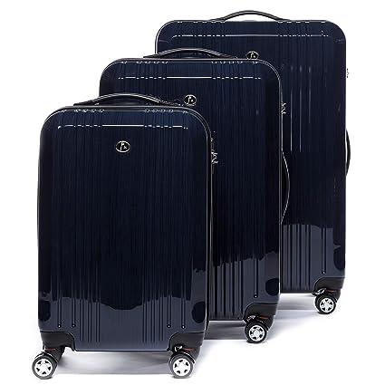 FERGÉ Juego de 3 Maletas rigidas de Viaje Cannes Equipaje de Trolley Dura Spinner con 4 Ruedas giratorias (360) Azul