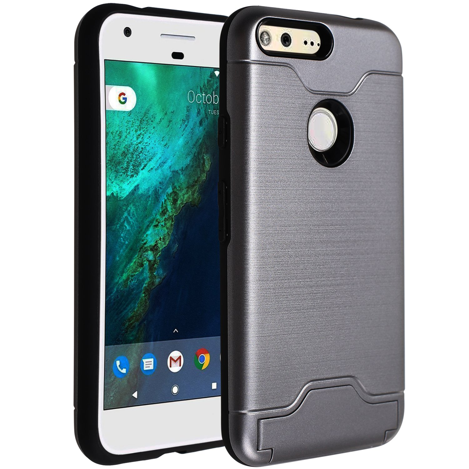 best website 90244 ec934 Google Pixel Wallet Case,[Hidden Card Slot Kickstand] Dual Layer Shock  Absorption Protective Case [Credit Card Slot] Heavy Duty Bumper Case for  Google ...