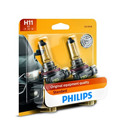 amazon com: philips h11 standard halogen replacement headlight bulb, 2  pack: automotive