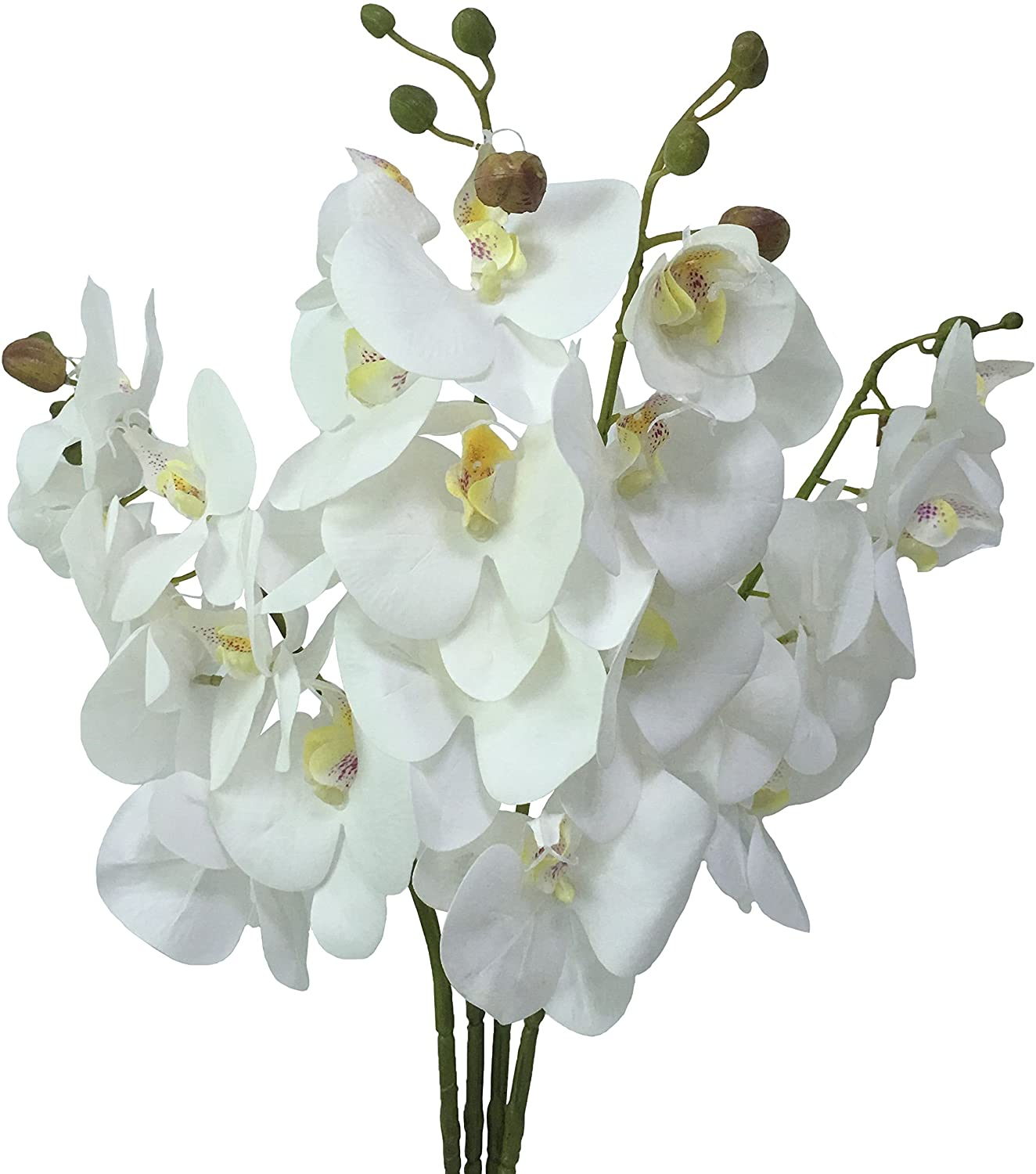 JAROWN White Orchid Artificial Flowers 4pcs 30 Inches