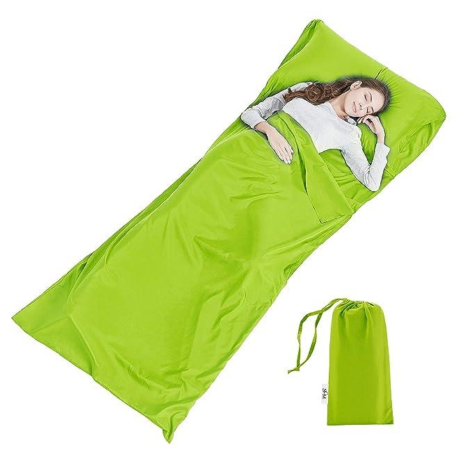 Suave Forro para Saco de Dormir - Ligera sábana de Viaje Camping Saco de Dormir para Evitar Suciedad en Hotel de Negocios, 90 x 220 cm, Color Verde, ...