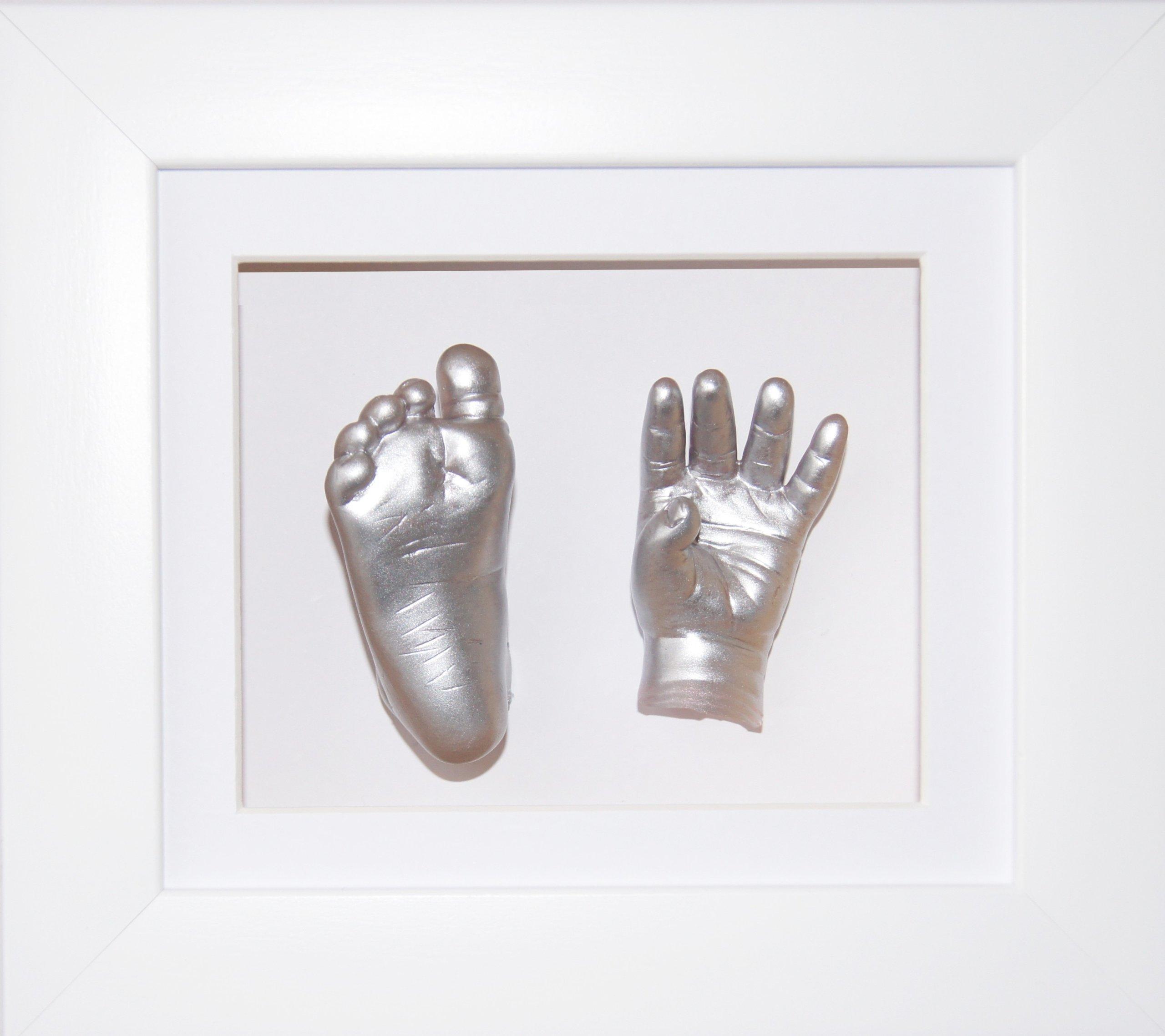 BabyRice Baby Casting Kit, 6x5'' White 3D Box Display Frame / White Mount / Metallic Silver Paint