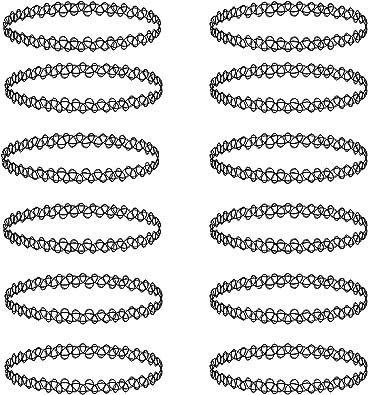 12 Pcs Choker Necklace Set Henna Tattoo Stretch Elastic Jewelry Women Girl Gift Pack Black