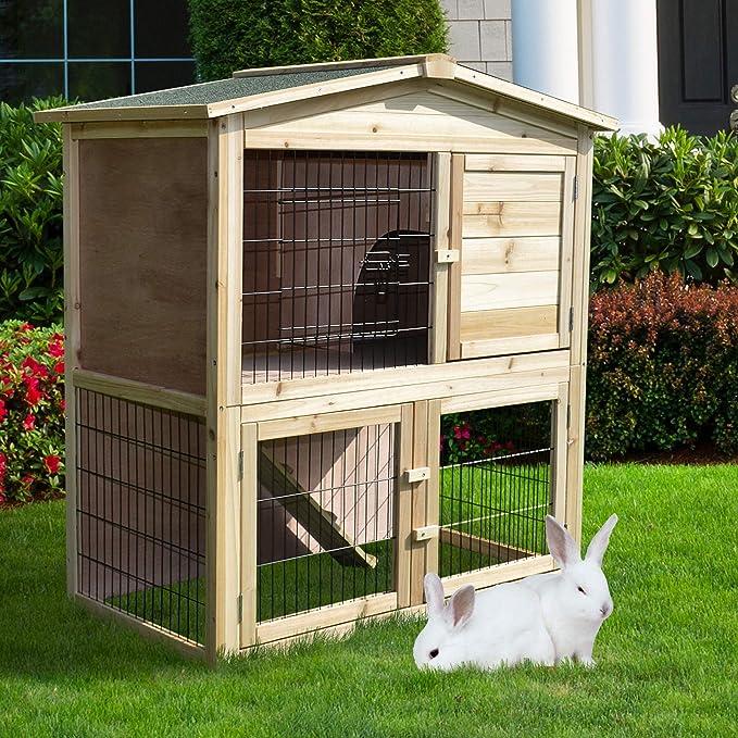 PawHut Conejera de Exterior 2 Niveles Gallinero Pajarera Granja Casa para Animales Pequeños Jaula Mascota Conejos Gallinero con Rampa 98x54x100cm: ...
