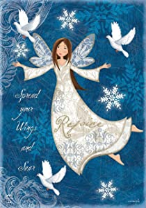 Briarwood Lane Rejoice Angel Winter Garden Flag Primitive Religious 12.5