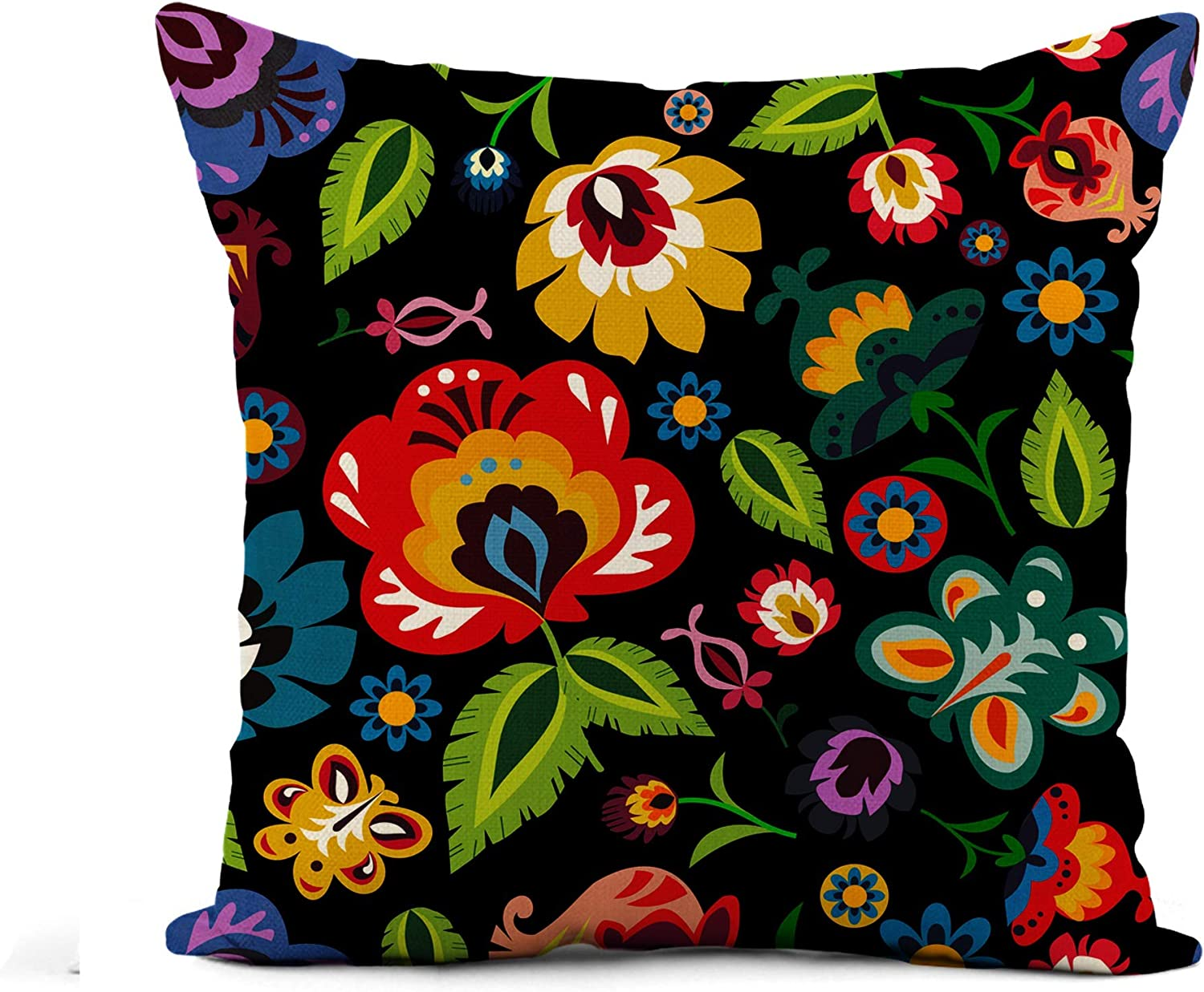 Awowee Flax Throw Pillow Cover Colorful Hungarian Traditional Polish Folk Floral Pattern Green Black 16x16 Inches Pillowcase Home Decor Square Cotton Linen Pillow Case Cushion Cover