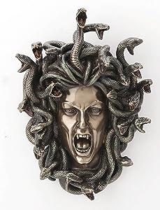 Veronese Design 7 1/4 Inch Greek Head Of Medusa Wall Plaque Cold Cast Resin Antique Bronze Finish Wall Sculpture Home Decor