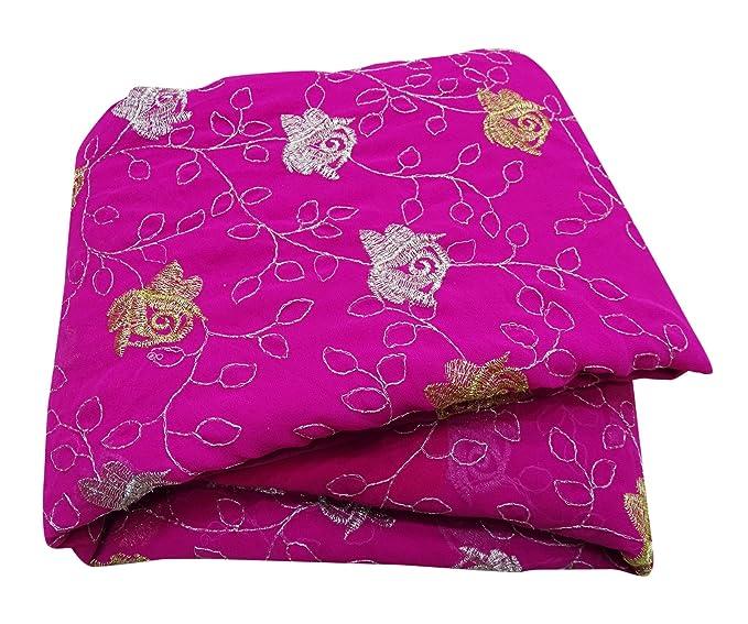 PEEGLI Indio Vendimia Bordado Saree Magenta Georgette Mezcla Mujer Pareo De Malasia Vestido Bollywood Sari