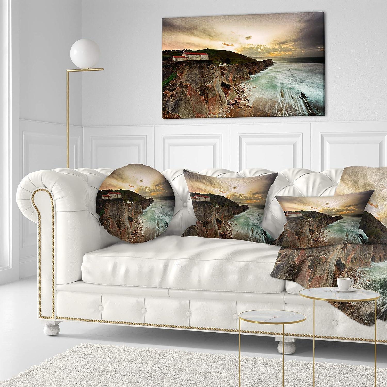 Sofa Throw Pillow 16 Designart CU9491-16-16-C Ocean Hitting Rocky Hill Seashore Photo Round Cushion Cover for Living Room
