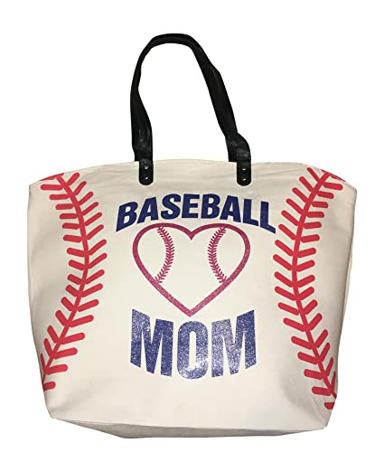 83ef1dc77e79 BallPark Leather XL White Baseball MOM Canvas Tote Bag