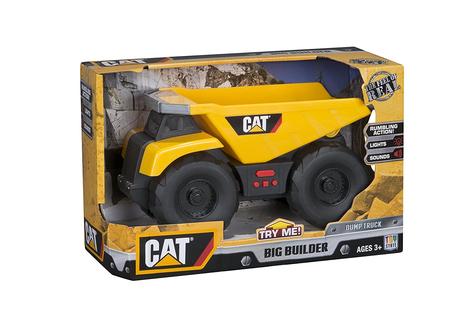 Amazon com toy state cat big builder dump truck lands shaking styles may vary toys games