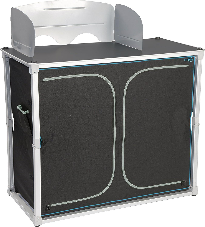 Bo-Camp Quick-up Solid - Armario de Cocina Plegable 4 Compartimentos + balda Superior + protección contra el Viento