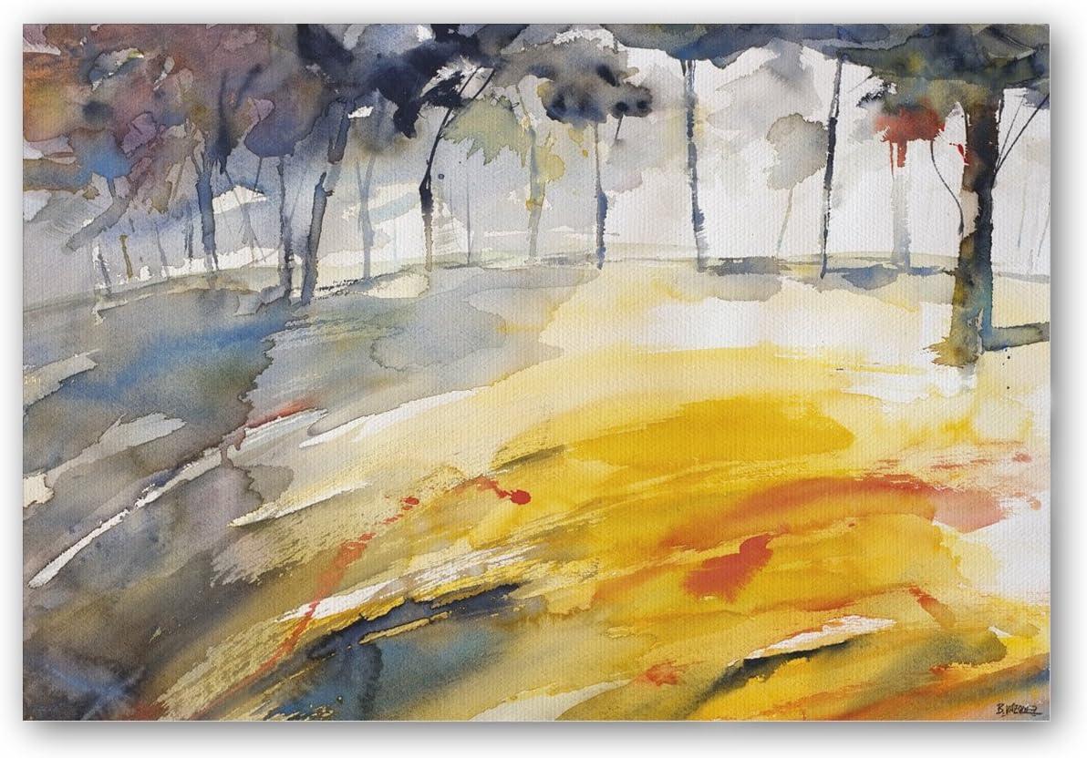 CUADRIMAN Bosque Caligrafía Grande Cuadro, Madera, Ocre y Gris, 120 x 80 cm