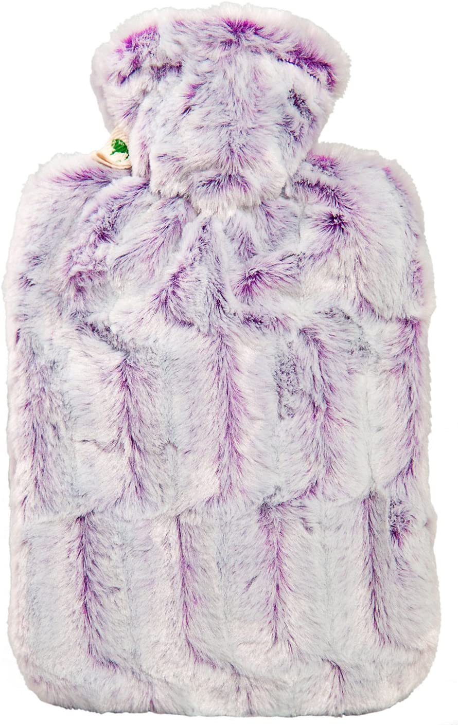 Hot Water Bottle with Cover - Hot Cold Pack Made of Burst Resistant Thermoplastic with Fleece Sleeve Helps Relieve Muscle Aches & Pains, Menstrual Cramps, Flu Symptoms (1.8L Faux Fur, Purple/Silver)