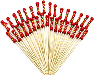"""PuTwo Cocktail Picks Handmade Toothpicks 4.7"""" 100ct Red Beads with Rope"""