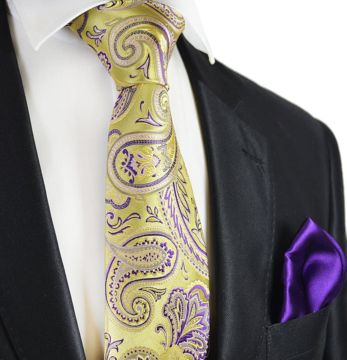 Gold and Indigo Paisley 7-fold Silk Tie and Pocket Square