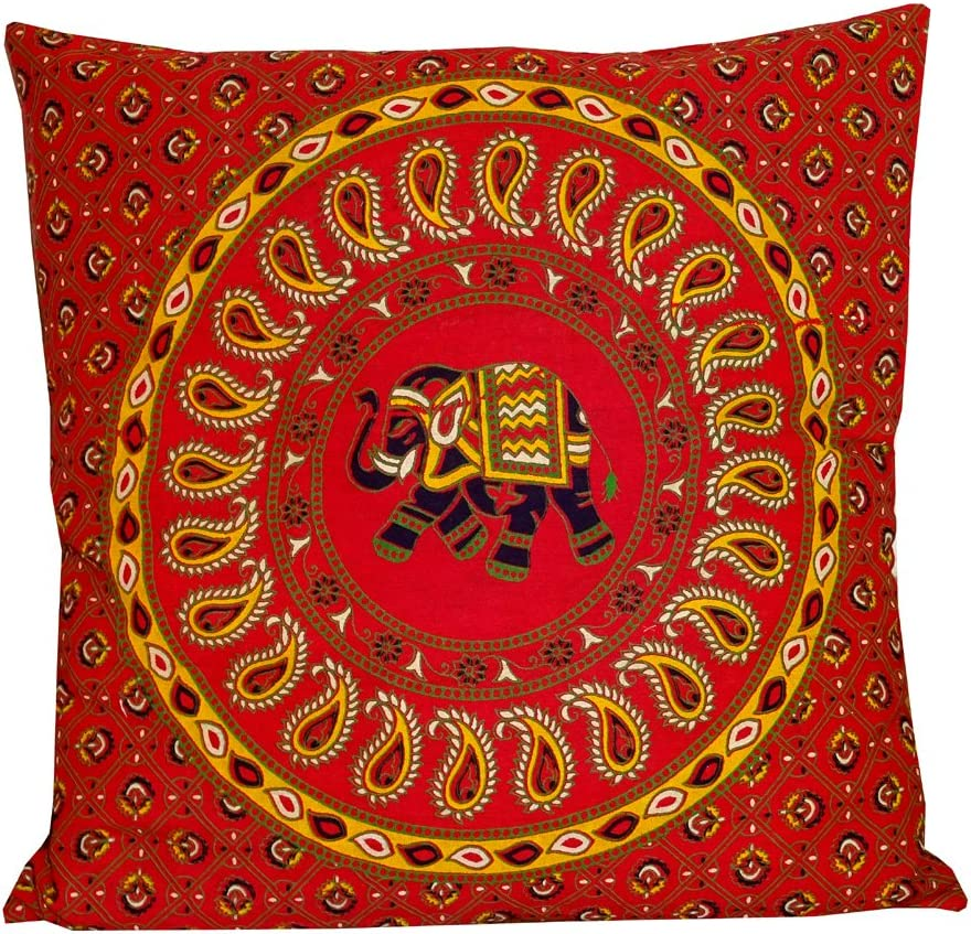 """Indian Red Elephant Mandala Throw Ethnic Tribal Vintage, Decorative Pillow Cushion Cover, Inspired Motifs Flourishing Nature Ornate Curves and Swirls, Square Accent Pillow Case 16 X 16"""""""