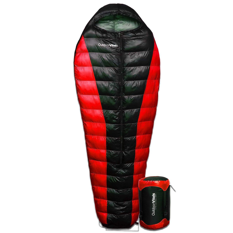 Outdoor Vitals Atlas 0 F – 15 F – 30 F Lightweight Sleeping Bag with Compression Sack, LoftTek Mummy Bag, Down Sleeping Bag