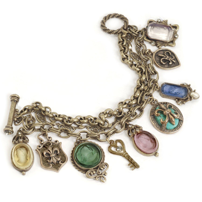 Glass Intaglio Cameo Fleur de Lis NeoClassic Vintage Charm Bracelet