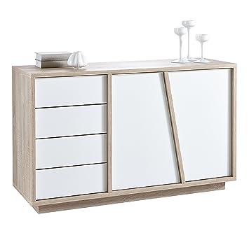 aparador buffe armario bajo de puertas y cuatro cajones color roble y blanco de saln