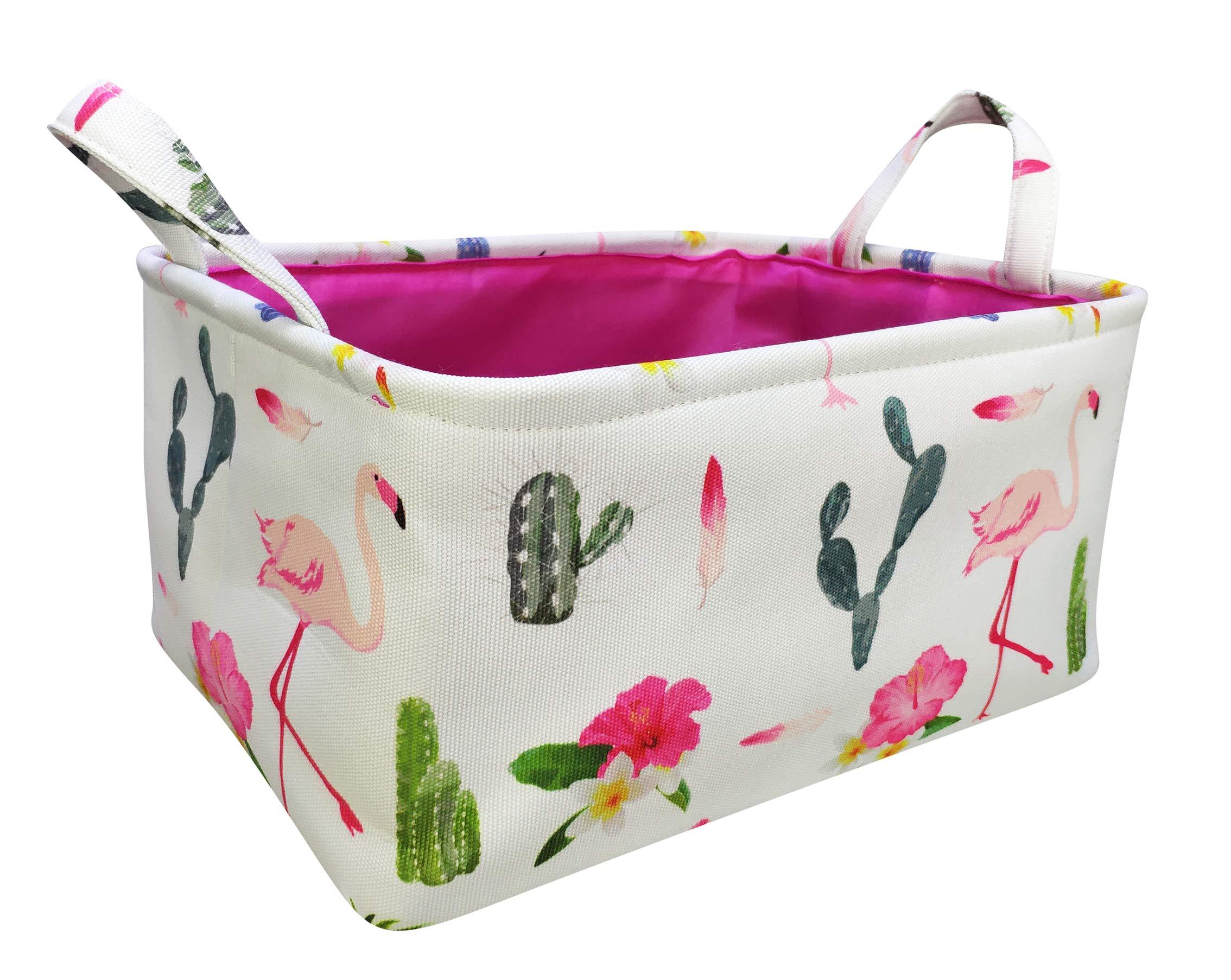 LEELI Rectangular Canvas Storage Basket Collapse Fabric Cartoon Storage Cube Bin with Handles for Organizing Kids Toy/Playroom Organization/Toy Bin/Closet /Shelf Baskets/Baby Hamper (Flamingo)