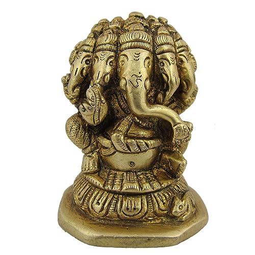 ShalinIndia Ganpati Ganesha Brass Figurines from India 2 x 2 x 3 Inches