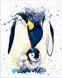 "7Dots Art. Mom and Baby. Watercolor Art Print, Poster 8""x10"" on Fine Art Thick Watercolor Paper for Childrens Kids Room, Bedroom, Bathroom. Wall Art Decor with Animals for Boys, Girls. (Penguins)"
