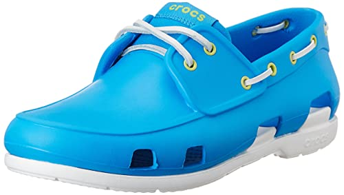 288ee290a crocs Men s Beach Line Ocean and White Rubber Boat Shoes - M11  Buy ...