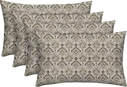 RSH D cor Set of 4 Decorative Indoor Outdoor Throw Toss Pillows Choose Size and Fabric Color, Great for Porch, Patio, Deck and Home Decor 20 x 12 , Kipling Taupe Geometric Scroll