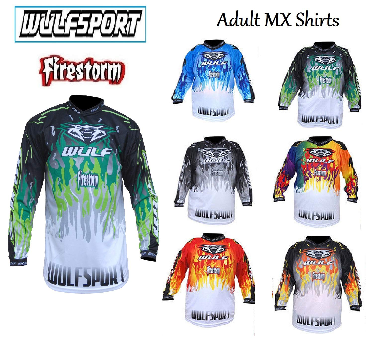 WULFSPORT ADULT FIRESTORM SHIRTS NEW 2018 Motorbike Motocross Quad Enduro MTB Off Road ATV MX Pit Sport Jersey Shirt