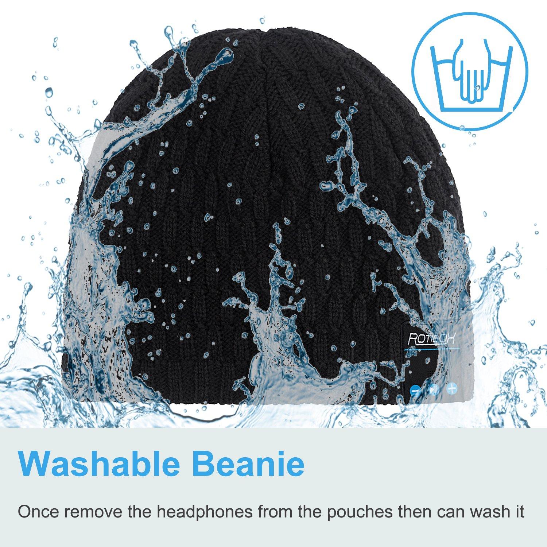 Bluetooth Beanie HatQshell Washable Winter Men Women Cap with Wireless Stereo Headphones Mic Hands
