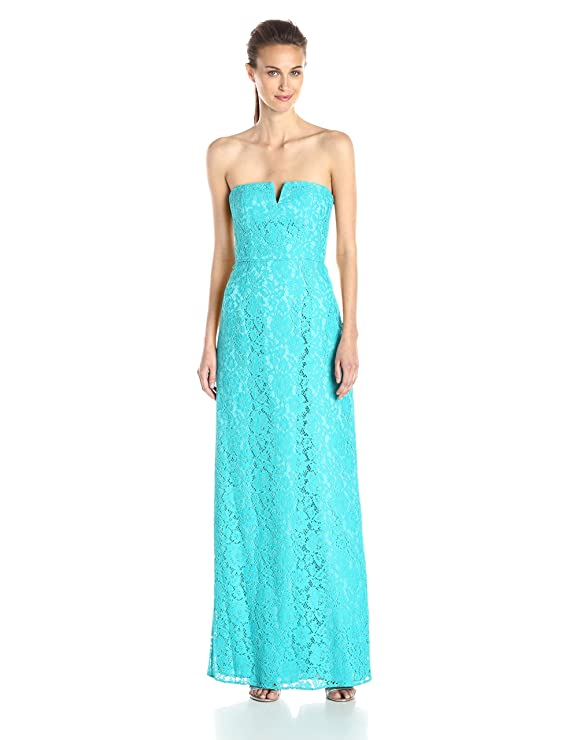 Amazon.com: Donna Morgan Women\'s Reese Strapless Lace Column Gown ...