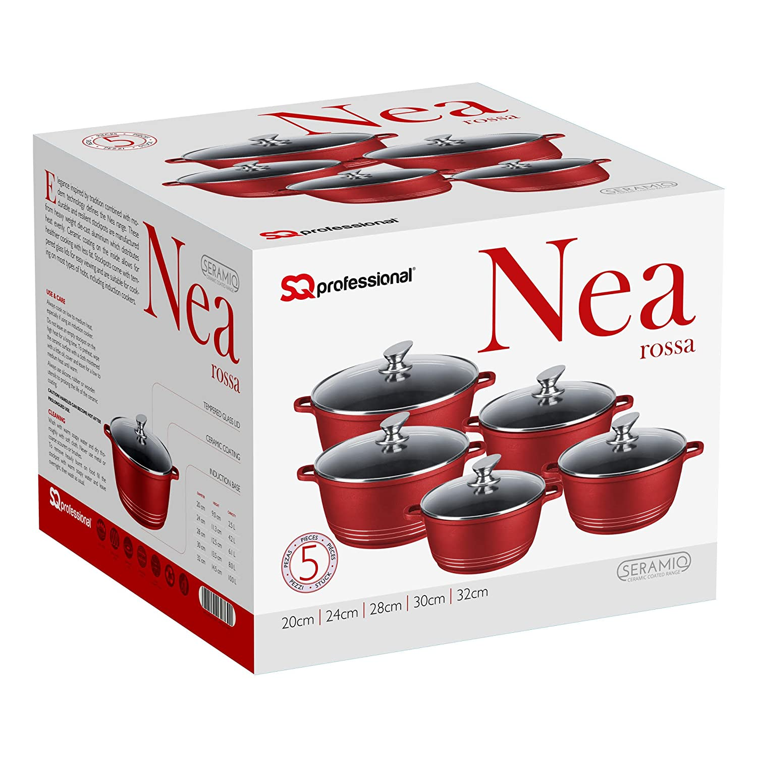 5 Piece Durable Diecast Non Stick, Ceramic Coated Cooking/Casserole Pot Set (Red)