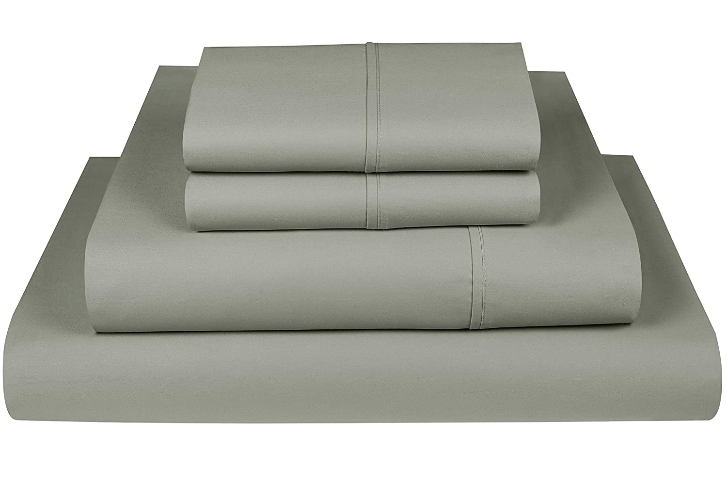 Threadmill Home Linen 800 Thread Count 100% Cotton Sheets, Moon Rock Grey King Size Sheets 4 Piece Cotton Bed Sheet Set, ELS Cotton Bed Sheets, Solid Sateen Weave Fits Mattress Up to 18'' Deep Pocket