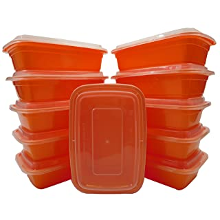 Table To Go 20-Pack Bento Lunch Boxes with Lids (1 Compartment/ 34 oz) | Microwaveable, Dishwasher & Freezer Safe Meal Prep Containers | Reusable Dish Set for Prepping, Portion Control & More (Orange)