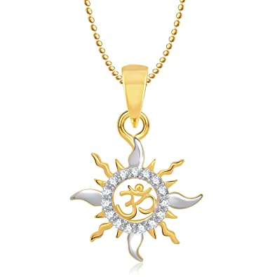 Buy meenaz om pendants gold plated in american diamond cz pendant meenaz om pendants gold plated in american diamond cz pendant necklace for men women gp188 mozeypictures