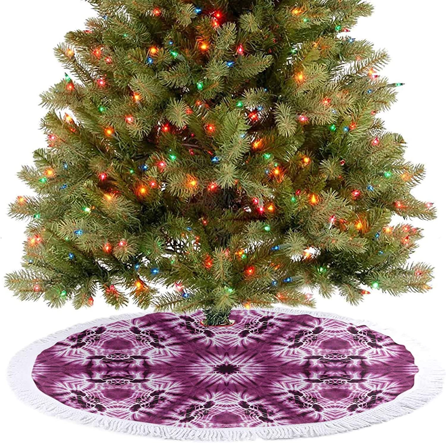 Adorise Christmas Tree Skirt Indonesian Oriental Trippy Motive with Morphing Spotted Murky Shapes Image Fuchsia Holiday Decor Ornaments Cozy and Festive Without Being Cheesy - 36 Inch