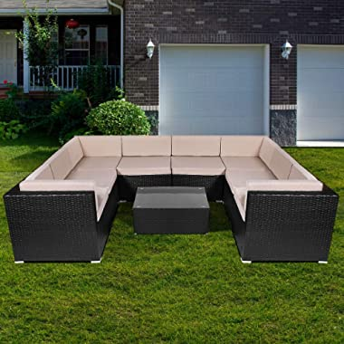 U-MAX 9 Pieces Patio PE Rattan Wicker Sofa Set Outdoor Sectional Furniture Conversation Chair Set with Cushions and Tea Table Black