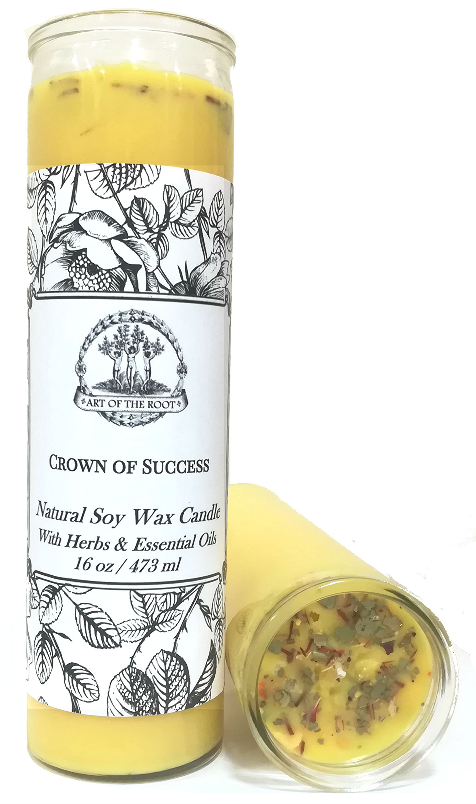 Art of the Root Crown of Success Scented 7 Day SOY Herbal Spell Candle (Fixed) Prosperity, Favorable Outcomes, Achievement & Obtaining Goals (Wiccan, Pagan, Hoodoo, Magick) by Art of the Root