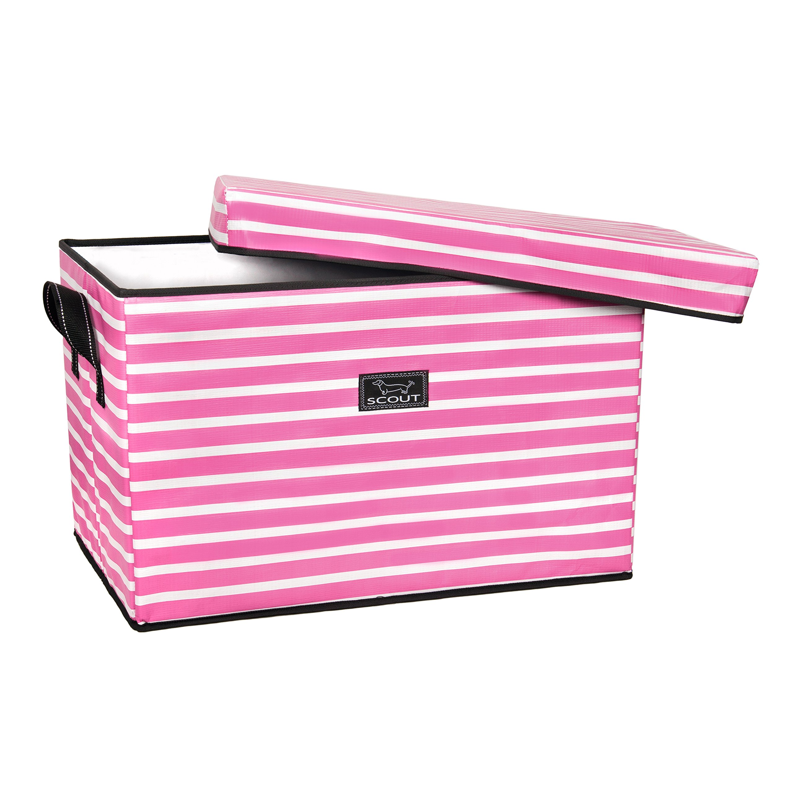 SCOUT Rump Roost Large Lidded Storage Bin, Collapsible and Stackable, Reinforced Side Handles and Bottom, Water Resistant, Panama Pink