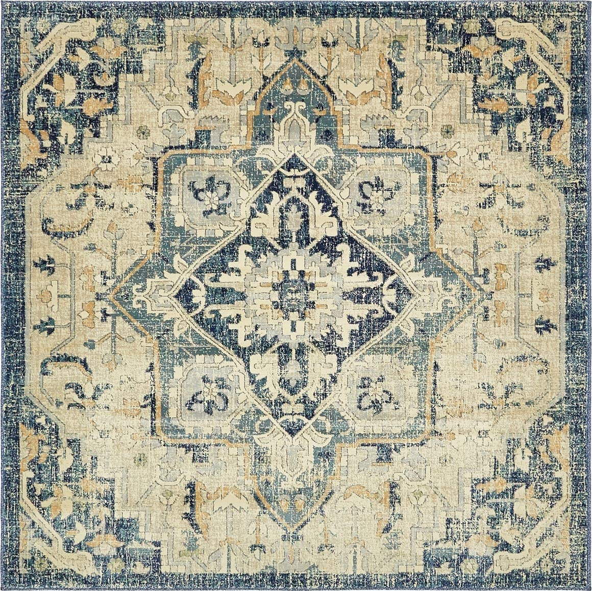 Unique Loom Oslo Collection Distressed Botanical Medallion Beige Square Rug 6 x 6