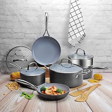COOKSMARK 12 Piece Scratch Resistant Ceramic Nonstick Hard Anodized Aluminum Cookware Set PFOA FreePans and Pots Steamer Rack Bamboo Cooking Utensils Black