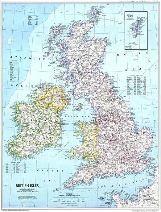 Póster gigante del Reino Unido con mapa de Reino Unido de Gran ...