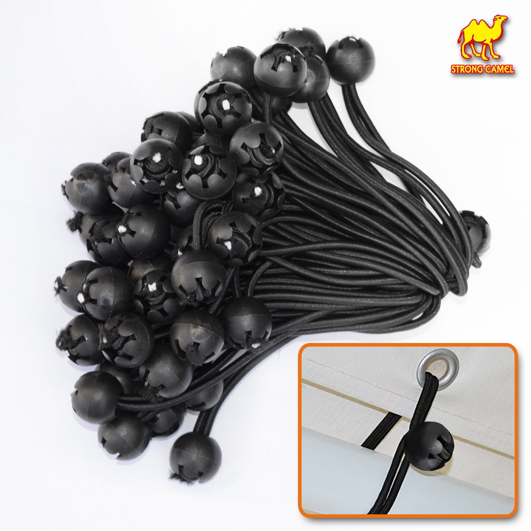 STRONG CAMEL Ball Bungees Cord Tarp Party Tent Tie Downs Bungee Canopy Gazebo Straps -6''-BLACK(50PCS)
