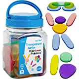 edxeducation-13228 Junior Rainbow Pebbles - Clear Colors - Mini Jar - Ages 18M+ - Sorting and Stacking Stones - Early Math Ma