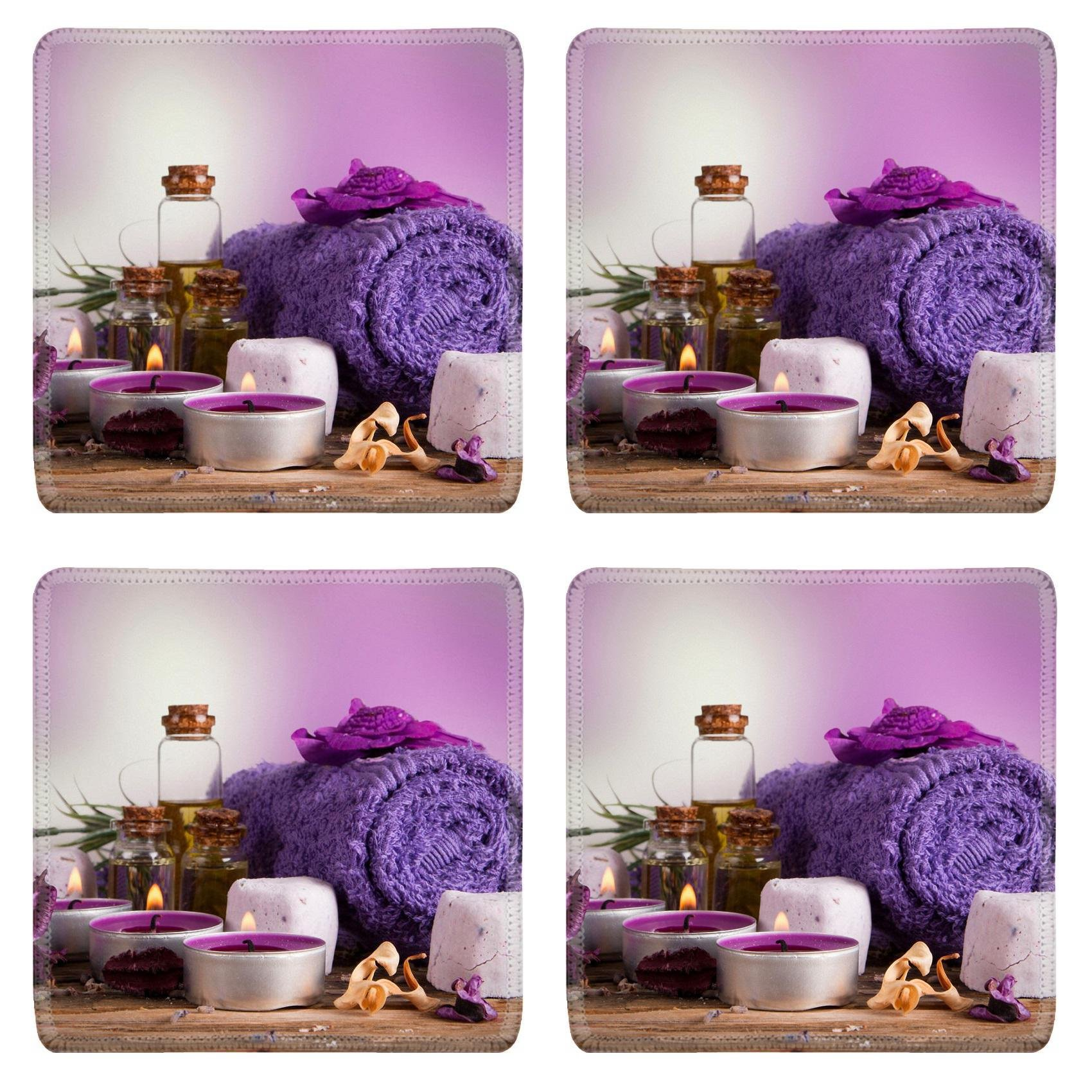 MSD Square Coasters Non-Slip Natural Rubber Desk Coasters design 33940016 spa concept with candles and flowers