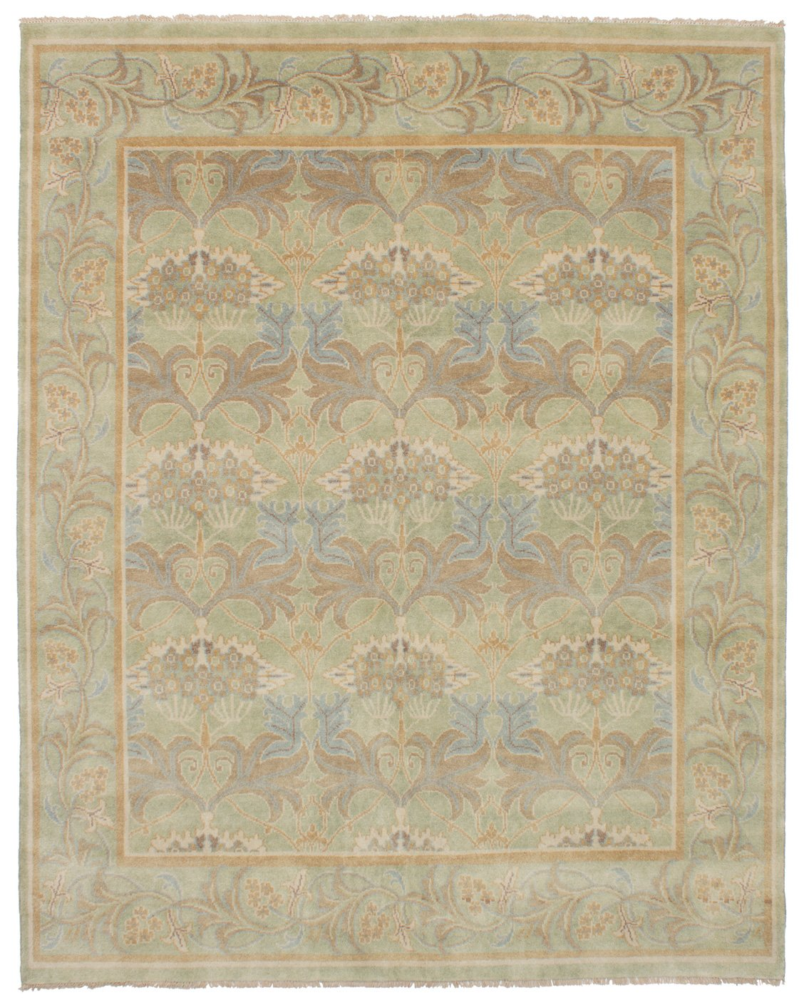 Ecarpetgallery Hand-knotted Royal Ushak Open Field 7'11'' x 9'11'' Green 100% Wool area rug
