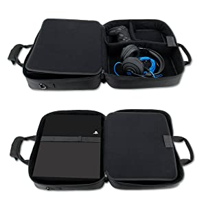 USA GEAR Console Carrying Case Compatible with Playstation 4 / PS4 Slim & PS4 Pro with Accessory Storage for Controllers, Cables, Headsets & Padded Shoulder Strap - Fits All PS4 & PS3 Models - Black (Color: Black)