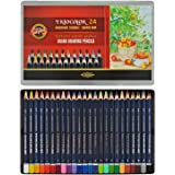 Koh-I-Noor Triocolor Artist's Quality Coloured Pencils - Set of 24 Assorted Colours in Tin Box